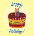 sweet birthday cake with three burning candles vector image vector image