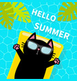swimming pool black cat floating on yellow pool vector image vector image