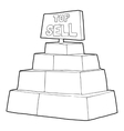 Top sale sign on a podium icon outline style vector image