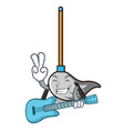 with guitar mop mascot cartoon style vector image