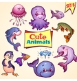 set of cute sea animals Dolphin pike vector image