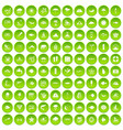 100 diving icons set green circle vector image vector image