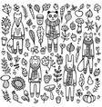a set doodle animals vector image vector image