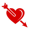 arrow in heart icon simple style vector image
