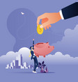 big hand putting coin into a piggy bank vector image vector image