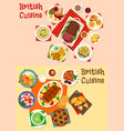 british cuisine icon of breakfast and dinner dish vector image vector image