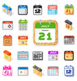 calendar icons office organizer set vector image vector image