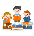 children boy and girl studying with books vector image