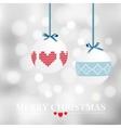 christmas card with balls and bokeh vector image vector image