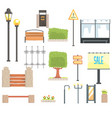 cityscape constructor elements set in cute cartoon vector image vector image