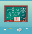 class blackboard with chalk piece and school vector image vector image