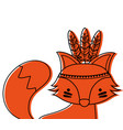 color cute fox animal with feathers decoration vector image vector image