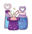 fairytale magic hat with rabbit ears and potion vector image