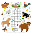 farm animals crossword kids crossing word search vector image