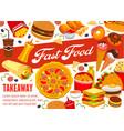 fast food snacks pizza and burgers takeaway menu vector image vector image