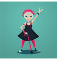 forever young old lady funny old rock fan active vector image