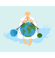 God sitting on cloud and knit planet Earth vector image vector image