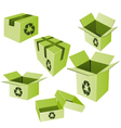 Green cardboards with recycle sign set