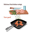 hand drawn chicken preparation concept vector image vector image