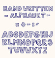 Hand Written Sketched Hatched Font vector image