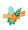 handshake with green leaves for business deal vector image