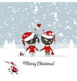 Happy couple in winter forest Christmas card vector image vector image