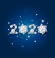 happy new year 2020 with snowflake and snow vector image vector image