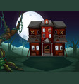 haunted house in the woods at night vector image vector image