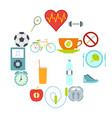 healthy life style flat set vector image vector image