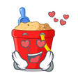in love picture beach bucket on shovel cartoon vector image vector image