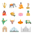 India Flat Icons Set vector image