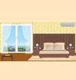 interior of resort hotel room with outlet to vector image vector image