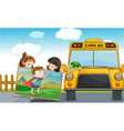 kids and school bus vector image vector image