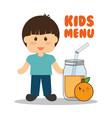 kids menu boy jar juice orange vector image vector image