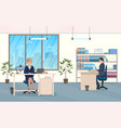 man and woman at desk in office vector image vector image
