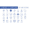 medical illnesses and symptoms line icon pack vector image