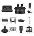 park equipment black icons in set collection for vector image vector image