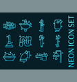 plumbing set icons blue glowing neon style vector image
