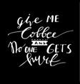 poster with hand-drawn coffee slogan vector image vector image