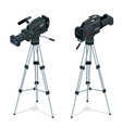 Professional digital video camera set on a tripod vector image vector image