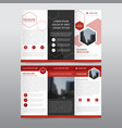 red hexagon business trifold leaflet brochure vector image vector image