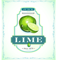 Ripe lime fruit on a juice or fruit product label vector image vector image