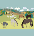 rural countryside landscape farmhouse horse and vector image