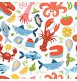 sea animal set seamless pattern with king crab vector image vector image