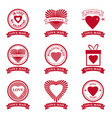 set love mail icon happy valentine day heart with vector image vector image
