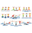 set of people working out in gym young girls and vector image vector image