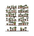 Shelves with plants in pots sketch for your vector image