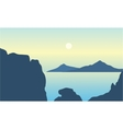 Silhouette of mountain in middle on the sea vector image vector image