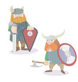 two viking warriors flat style vector image