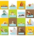 Water sport icons set flat style vector image vector image